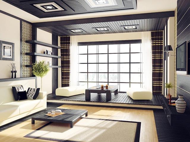 Обои для зала в японском стиле
