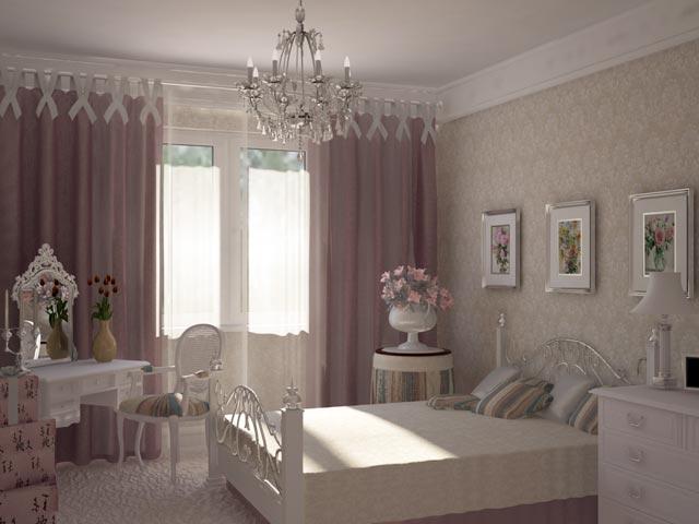 Оформление спальни обоями прованс