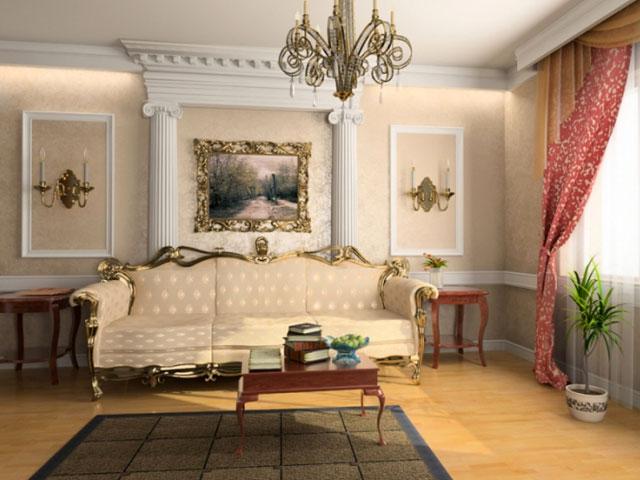Обои для зала в классическом стиле
