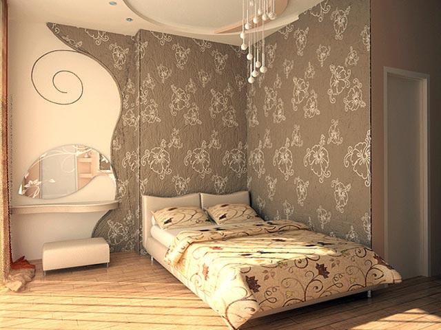 Сложное комбинирование обоев в спальнойие обоев